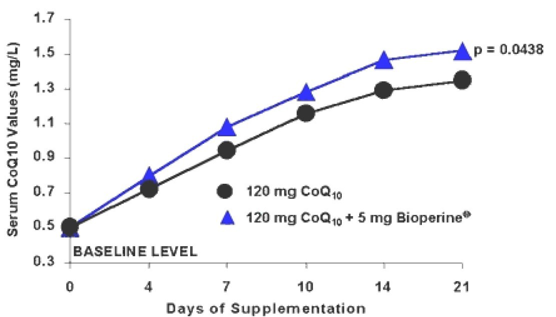 Effect of BioPerine® on serum CoQ10 levels during a 21 day supplementation trial